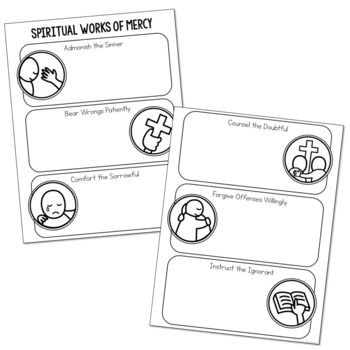 WORKS OF MERCY Illustrated Notes | Christian Activity | Religious Project