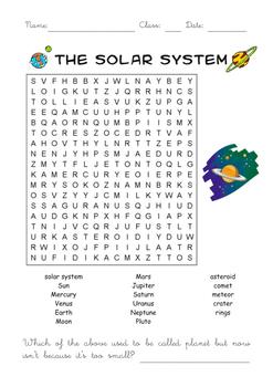 WORKSHEET Planets wordsearch