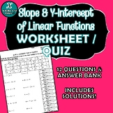 WORKSHEET / QUIZ - Slope & Y-Intercept from an Equation