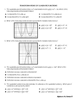 REVIEW / QUIZ - Transformations of Quadratic Functions