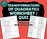REVIEW / QUIZ - Transformations of Quadratic Functions
