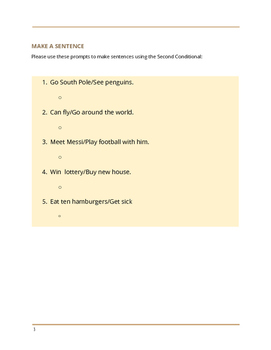TEFL/ESL WORKSHEET Second Conditional