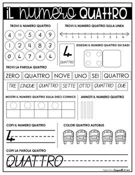 WORKSHEETS   ITALIAN NUMBERS 1 - 10