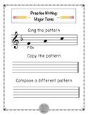 WORKSHEETS: Write and Create Tonal Patterns: F Major, Toni