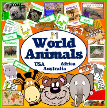 WORLD ANIMALS AFRICA USA AUSTRALIA TEACHING RESOURCES DISP