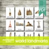 WORLD ARCHITECTURE LANDMARKS • Montessori Cards • Flash Ca