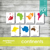 WORLD CONTINENTS   MONTESSORI Printable Nomenclature Three