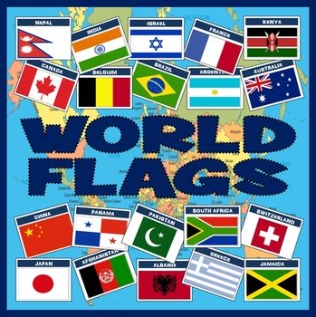 WORLD FLAGS 100x A4 POSTERS - GEOGRAPHY DISPLAY
