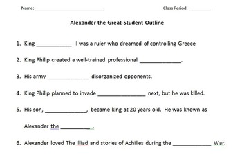 WORLD HISTORY: Alexander the Great Student Outline And Key Worksheet Printable