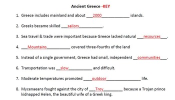 WORLD HISTORY:Ancient Greece-Cultures of Mountains Student Notes Outline & Key