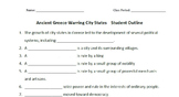 WORLD HISTORY: Ancient Greece-Warring City States-Student Notes Outline & Key