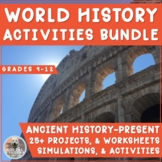 WORLD HISTORY ACTIVITIES BUNDLE! 25+ Projects, Simulations, & Worksheets!