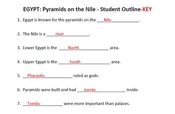 WORLD HISTORY: Egypt-Pyramids on the Nile-Student Notes Outline & Key