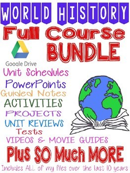 WORLD HISTORY FULL YEAR COURSE BUNDLE- ALL YOU NEED GROWING BUNDLE