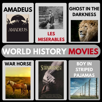 WORLD HISTORY MOVIE GUIDES FULL YEAR WAR HORSE SCHINDLERS VIDEO GUIDES