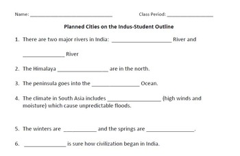 WORLD HISTORY: Planned Cities on the Indus (India) Student Notes, Outline & Key