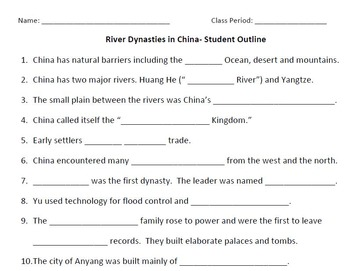 WORLD HISTORY: River Dynasties in CHINA-Student Notes Outline and Key