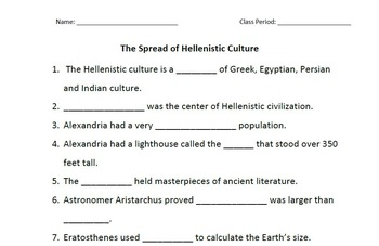 WORLD HISTORY: Spread of Hellenistic Culture Student Outline Worksheet & Key