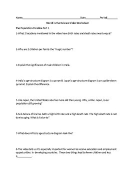 WORLD IN THE BALANCE VIDEO WORKSHEET