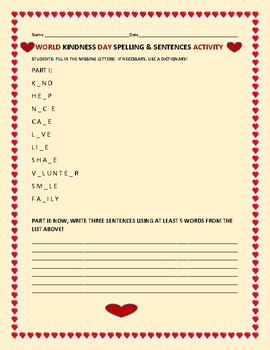 WORLD KINDNESS DAY SPELLING & SENTENCES ACTIVITY