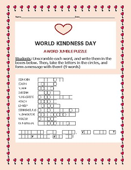 WORLD KINDNESS DAY WORD JUMBLE