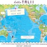 WORLD MAP CLIP ART MEGABUNDLE: 1 map + 98 clip art elements