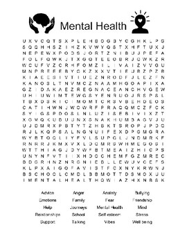 WORLD MENTAL HEALTH DAY ACTIVITIES, 3 PAGES, MENTAL HEALTH POSTERS & WORD SEARCH
