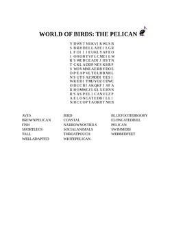 WORLD OF BIRDS PELICAN WORD SEARCH