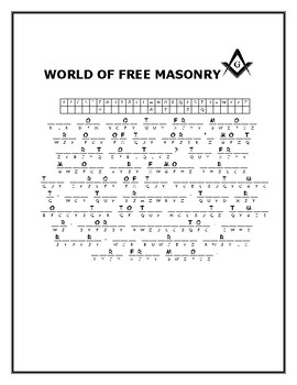WORLD OF FREE MASONRY CRYPTOGRAM