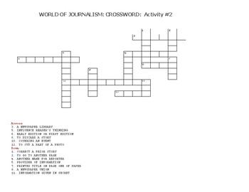 WORLD OF JOURNALISM: CROSSWORD : ACTIVITY #2