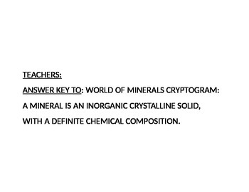 WORLD OF MINERALS CRYPTOGRAM