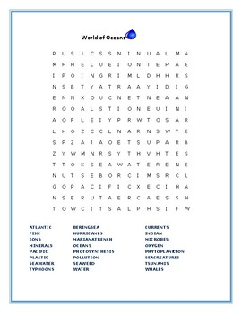WORLD OF OCEANS: WORD SEARCH