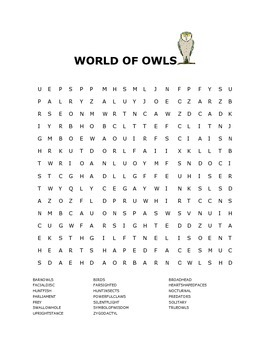 WORLD OF OWLS WORD SEARCH