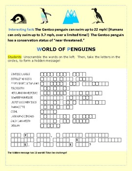 WORLD OF PENGUINS: A VOCABULARY SCIENCE JUMBLE PUZZLE: MG, 3-6