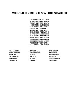 WORLD OF ROBOTS WORD SEARCH