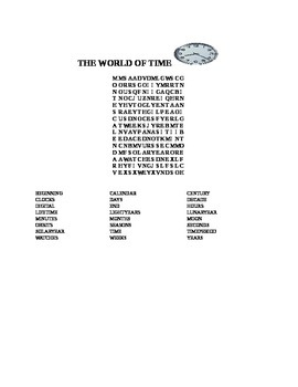 WORLD OF TIME WORD SEARCH