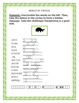 WORLD OF TURTLES: A SCIENCE VOCABULARY  WORD JUMBLE