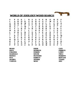 WORLD OF ZOOLOGY WORD SEARCH
