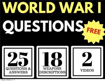 WORLD WAR I FREEBEE WEAPONS OF WAR ACTIVITY