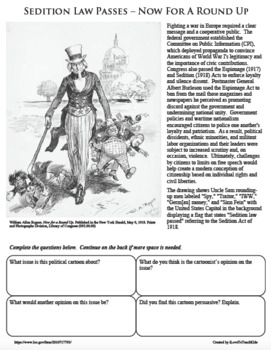 WORLD WAR I UNCLE SAM SEDITION LAW PASSES Cartoon WWI PRIMARY SOURCE