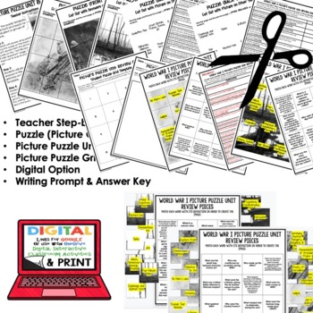 WORLD WAR I (WWI) Activity Picture Puzzle Unit Review, Study Guide, Test Prep