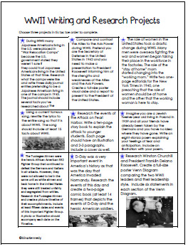 World War II Writing and Research Projects Plus Complete Picture Timeline