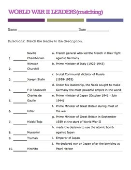 WORLD WAR II LEADERS (matching quiz)