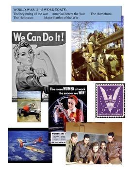 WORLD WAR II UNIT: VOCAB WORD SORTS