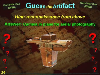 "WORLD WAR ONE (WWI) ""Guess the Artifact"" - for HS World History (6/10)"