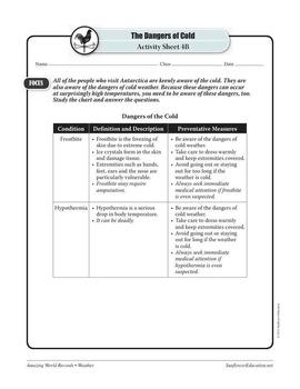 WORLD'S COLDEST PLACE: POLYUS NEDOSTUPNOSTI, ANTARCTICA—Weather Worksheets