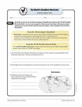 WORLD'S DEADLIEST HURRICANE: THE GALVESTON HURRICANE OF 1900—Weather Worksheets