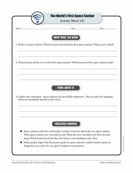 WORLD'S FIRST SPACE STATION: SALYUT 1—Science and Technology Worksheets