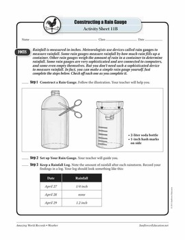 WORLD'S GREATEST RAINFALL: 73.62 INCHES—Weather Worksheets and Activities