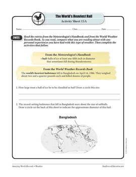 WORLD'S HEAVIEST HAIL: FELL IN BANGLADESH—Weather Worksheets and Activities